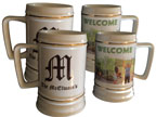 Ceramic Beer Stein - Gold Trim - 28 oz - set/4